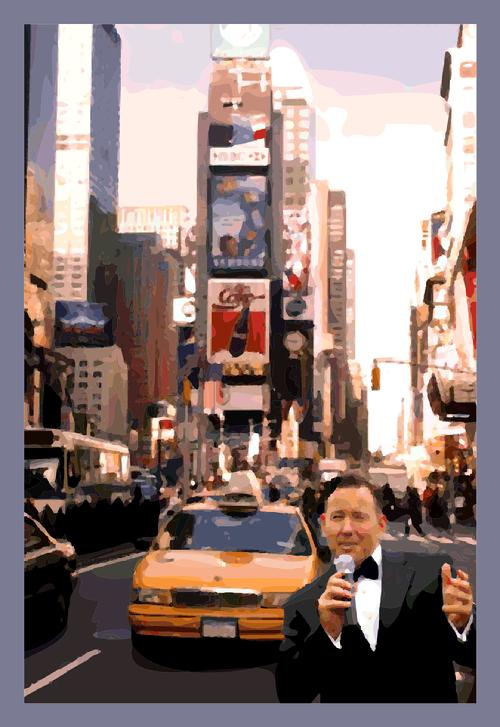 """Mr. Rat Pack"" Frank Lamphere at Time's Square, New York"